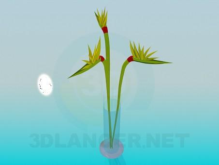 modelo 3D Ramo de flores en un jarrón - escuchar