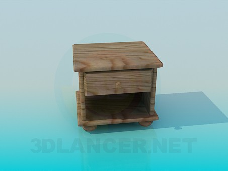3d model Wooden bedside table - preview