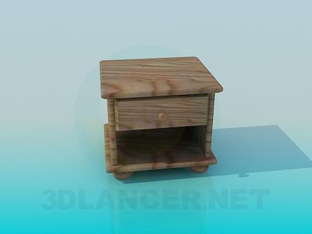 modelo 3D Mesita de madera - escuchar