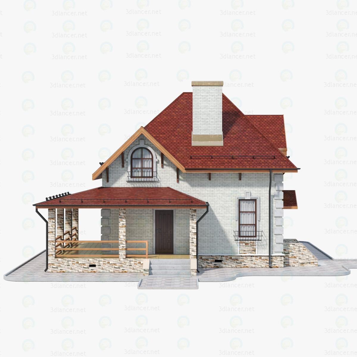 3d Дом Кирпичный - 1 модель купить - ракурс
