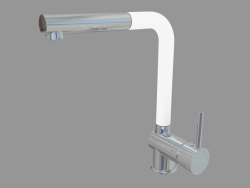 Sink mixer with rectangular spout and retractable watering can - chrom biały Aster (BCA W730)