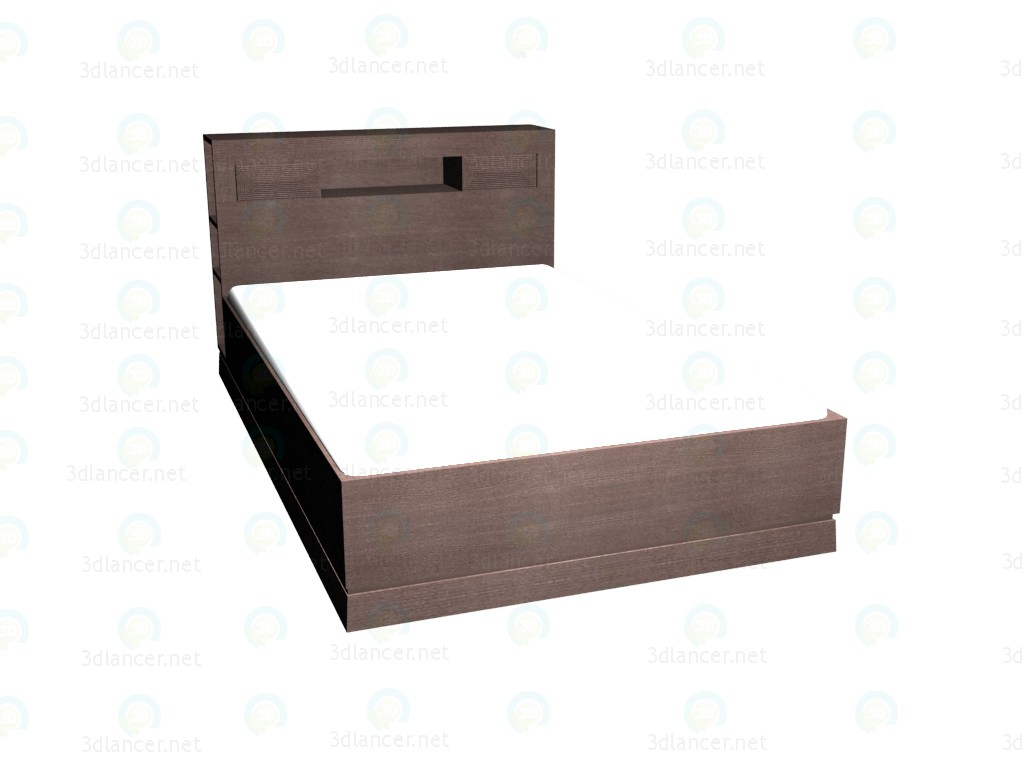 3d model Double bed with shelves in the headboard 140x220 (dark oak) - preview