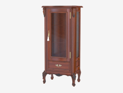 Single-door showcase with drawer BN8807 (wood with black patina)