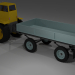 3d Tractor (+ blade, bucket, trailer) model buy - render
