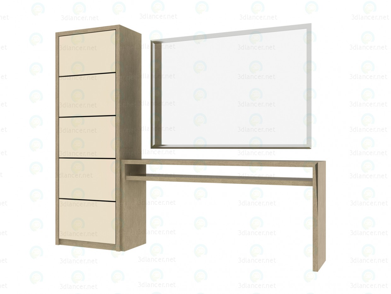 3d модель Туалетний столик з дзеркалом і шафою – превью