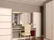 Dressing table with mirror and wardrobe