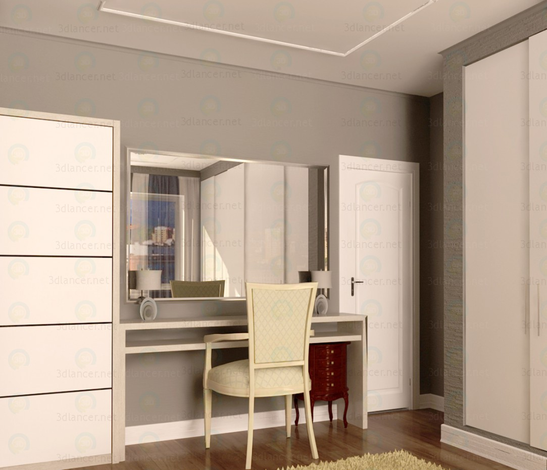 3d model dressing table with mirror and wardrobe download - Modele dressing ...