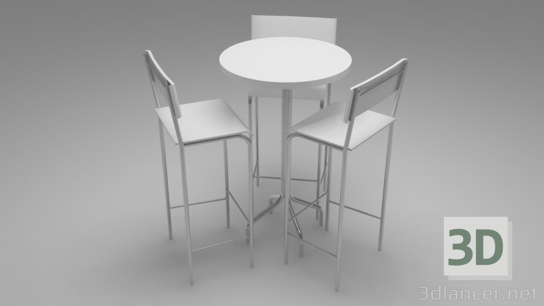 3d model White bistro - preview