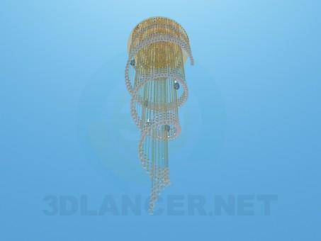 3d модель Высокая спиралевидная люстра – превью