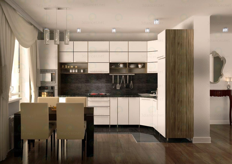 3d модель Угловая кухня. Минимализм – превью