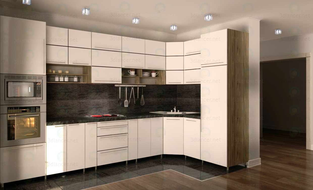 3d model Corner kitchen. Minimalism - preview
