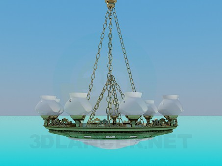 3d model Chandelier with chains - preview