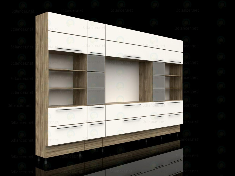3d модель Книжкова шафа для вітальні – превью