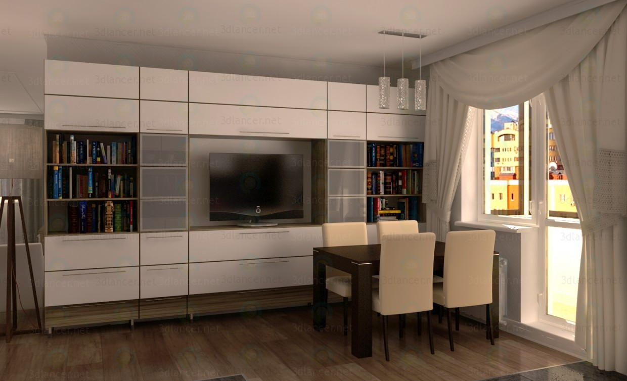 3d modeling Bookcase for living room model free download