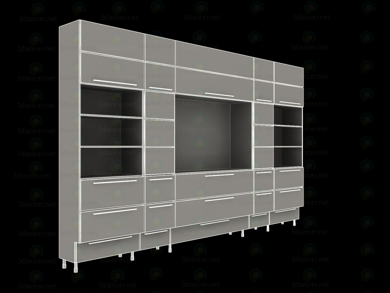 3d модель Книжный шкаф для гостинной – превью