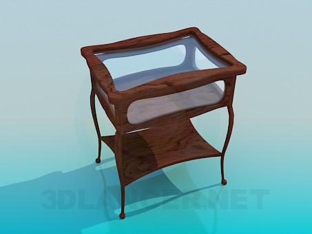 3d модель Деревянный журнальный столик со стеклянной столешницей – превью