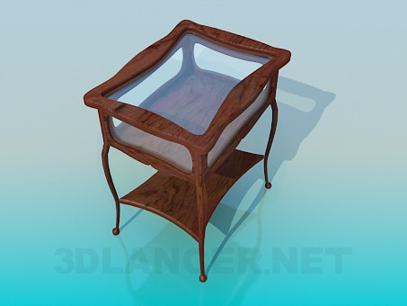 3d model Wooden coffee table with glass tabletop - preview