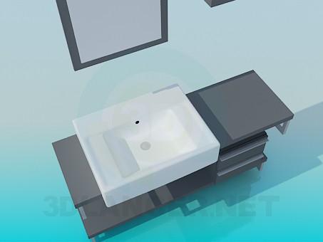 descarga gratuita de 3D modelado modelo Lavabo rectangular en el gabinete