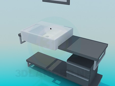 3d model Rectangular washbasin on the cabinet - preview