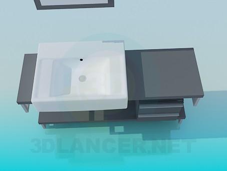 3d модель Прямоугольный умывальник на тумбе – превью