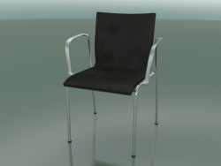 4-legged chair with armrests, leather interior upholstery (129)