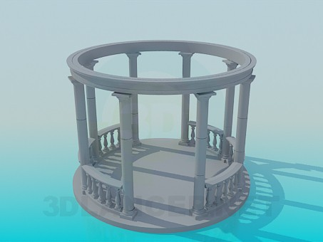 3d model Pergola with columns - preview