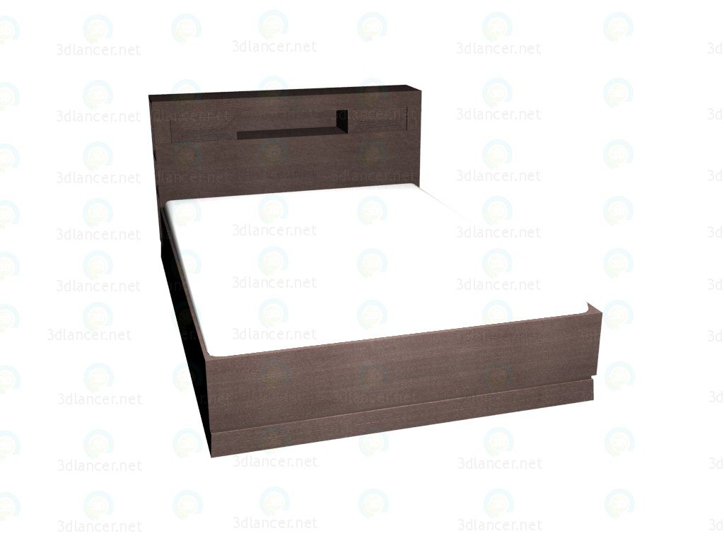 3d model Double bed with shelves in a headboard 160 x 220 (Dark Oak) - preview