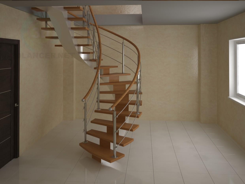 3d модель Лестница на монокосоуре, винтовая – превью