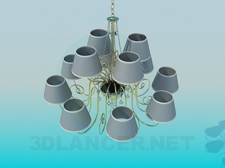 3d modeling Chandelier for 12 bulbs model free download