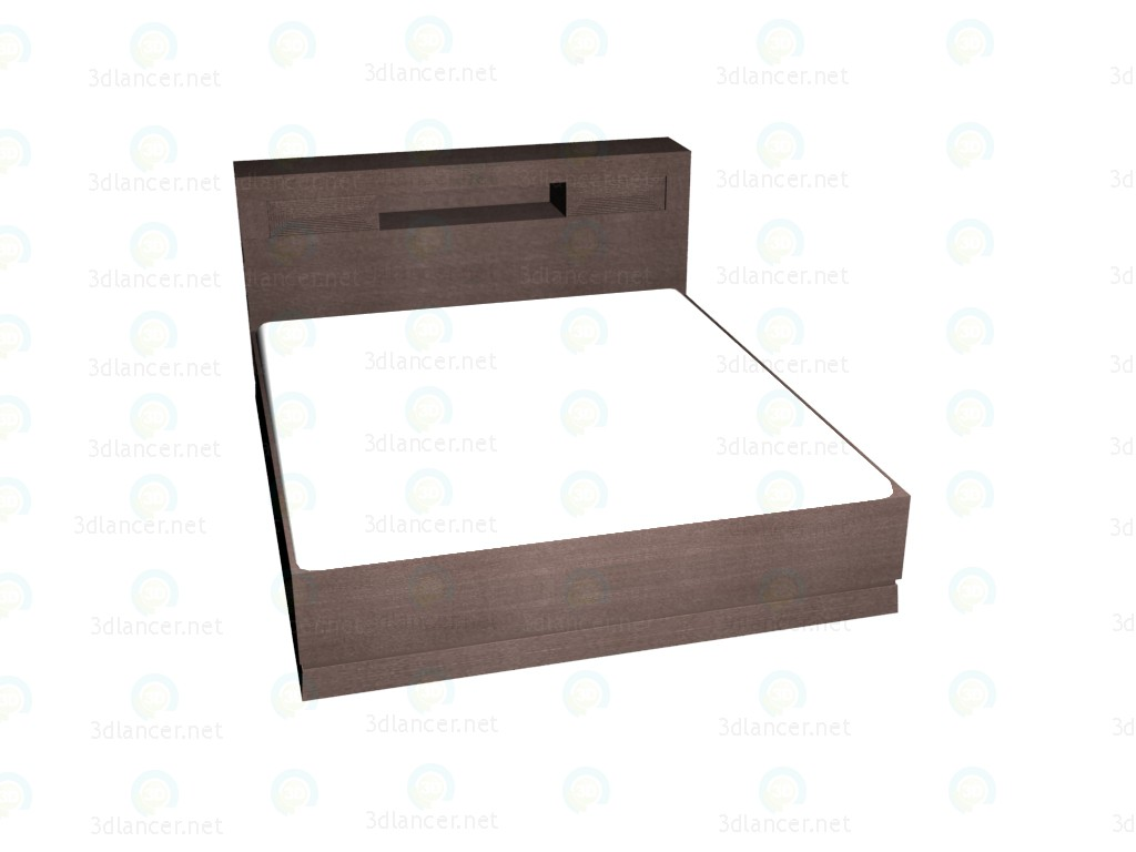 3d model Double bed with shelves in a headboard 180 (Dark Oak) VOX - preview