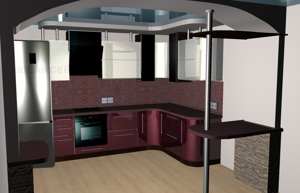 3d model burgundy kitchen - preview