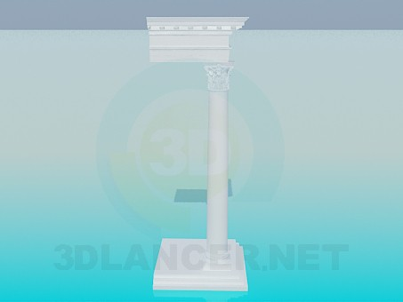 3d model Kololnna con cornisa - vista previa