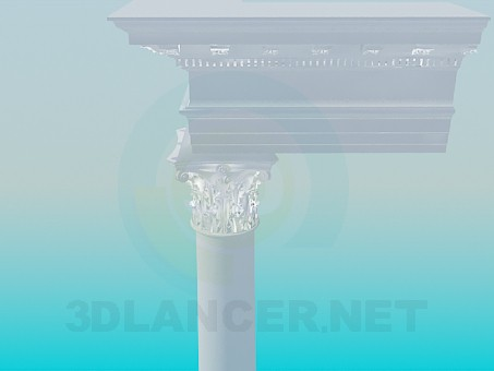 3d model Kololnna with cornice - preview
