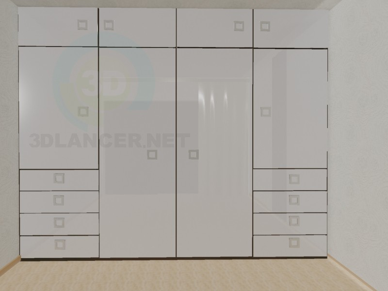 3d модель Белый шкаф – превью