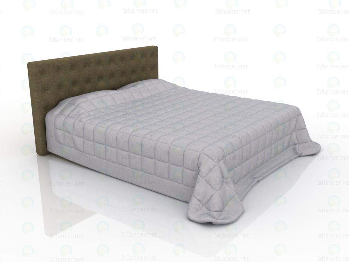 3d модель Ліжко двоспальне з м'яким узголів'ям і стьобаною ковдрою – превью