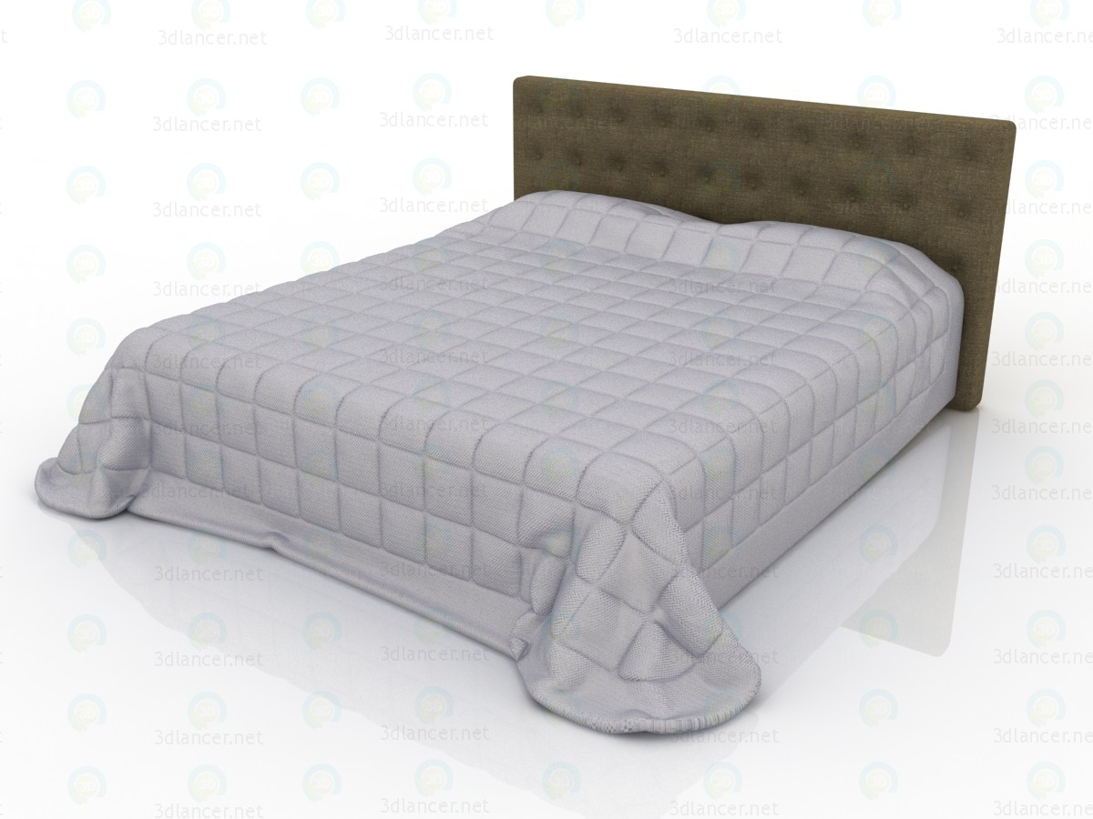 3d model Double bed with upholstered headboard and quilt - preview