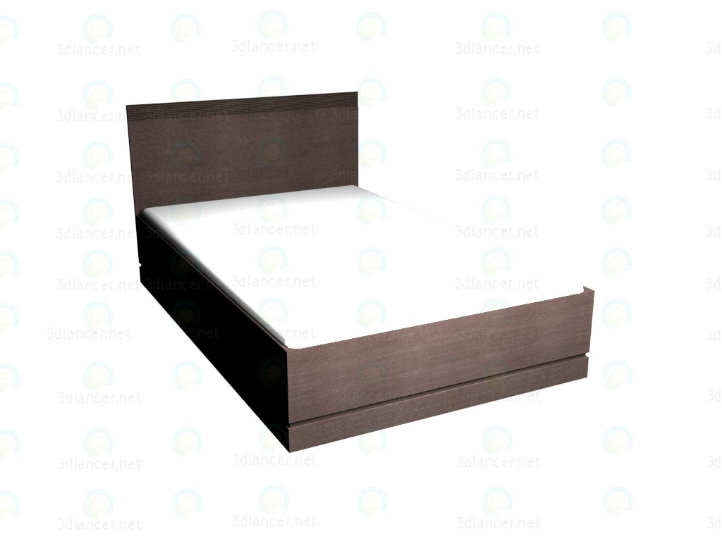 3d model Double bed 140 x 220 (Dark Oak) VOX - preview