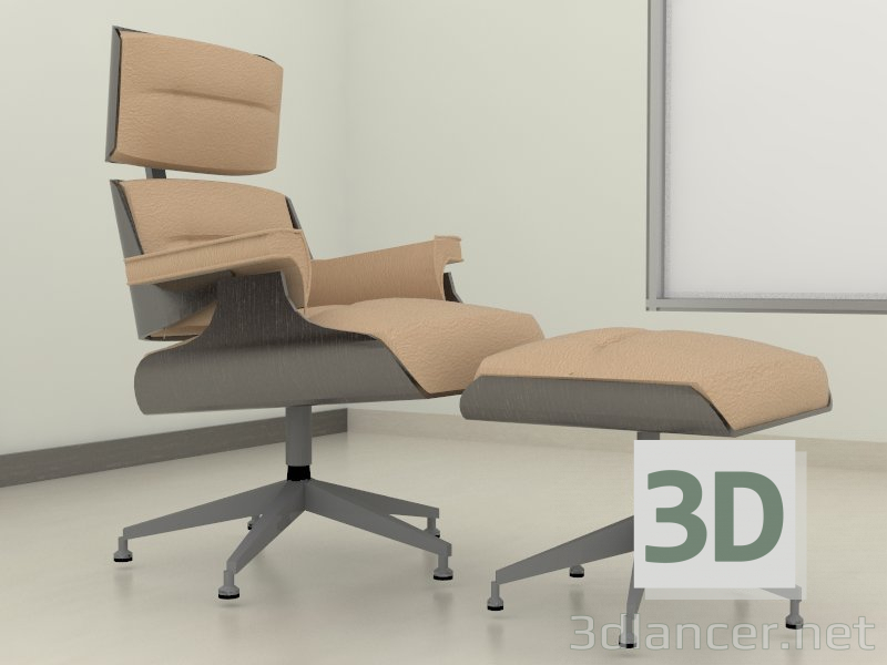 3d model Armchair with Ottoman - preview