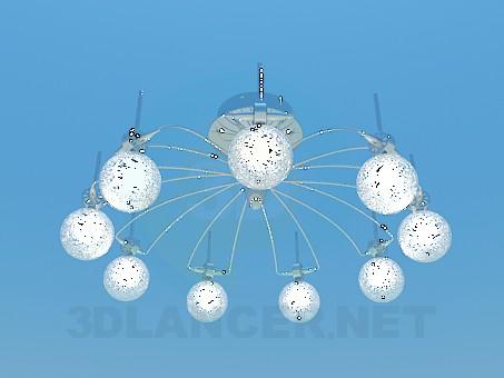 modelo 3D Lámpara Chandelier con bolas iluminadas - escuchar