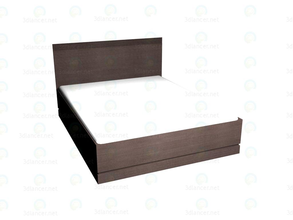 3d model Double bed 160 x 200 (Dark Oak) - preview