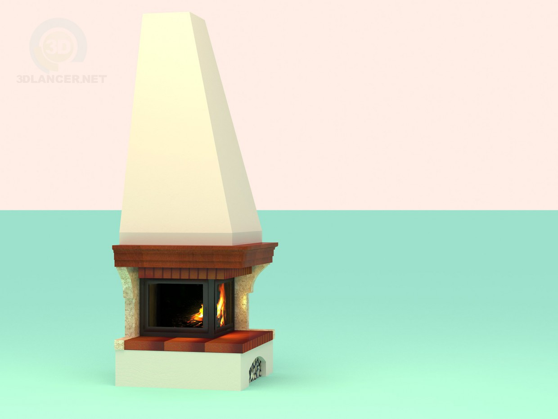 descarga gratuita de 3D modelado modelo Chimenea de esquina en un estilo rústico