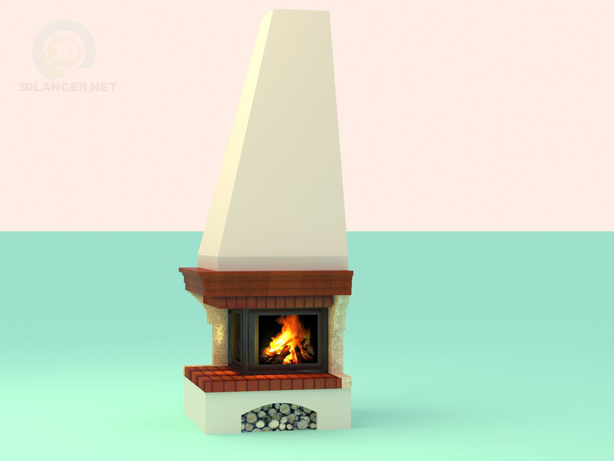3d model Corner fireplace in a country style - preview
