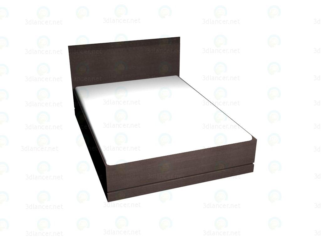 3d model Double bed 160 x 220 (Dark Oak) VOX - preview