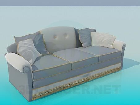 modelo 3D Sofá gris - escuchar