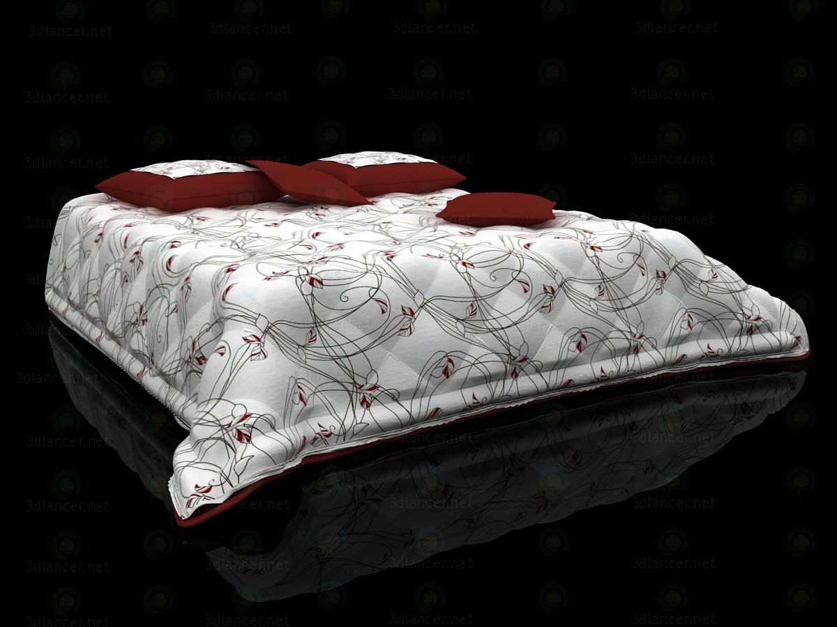 3d Стеганое покрывало и подушки на кровать модель купить - ракурс
