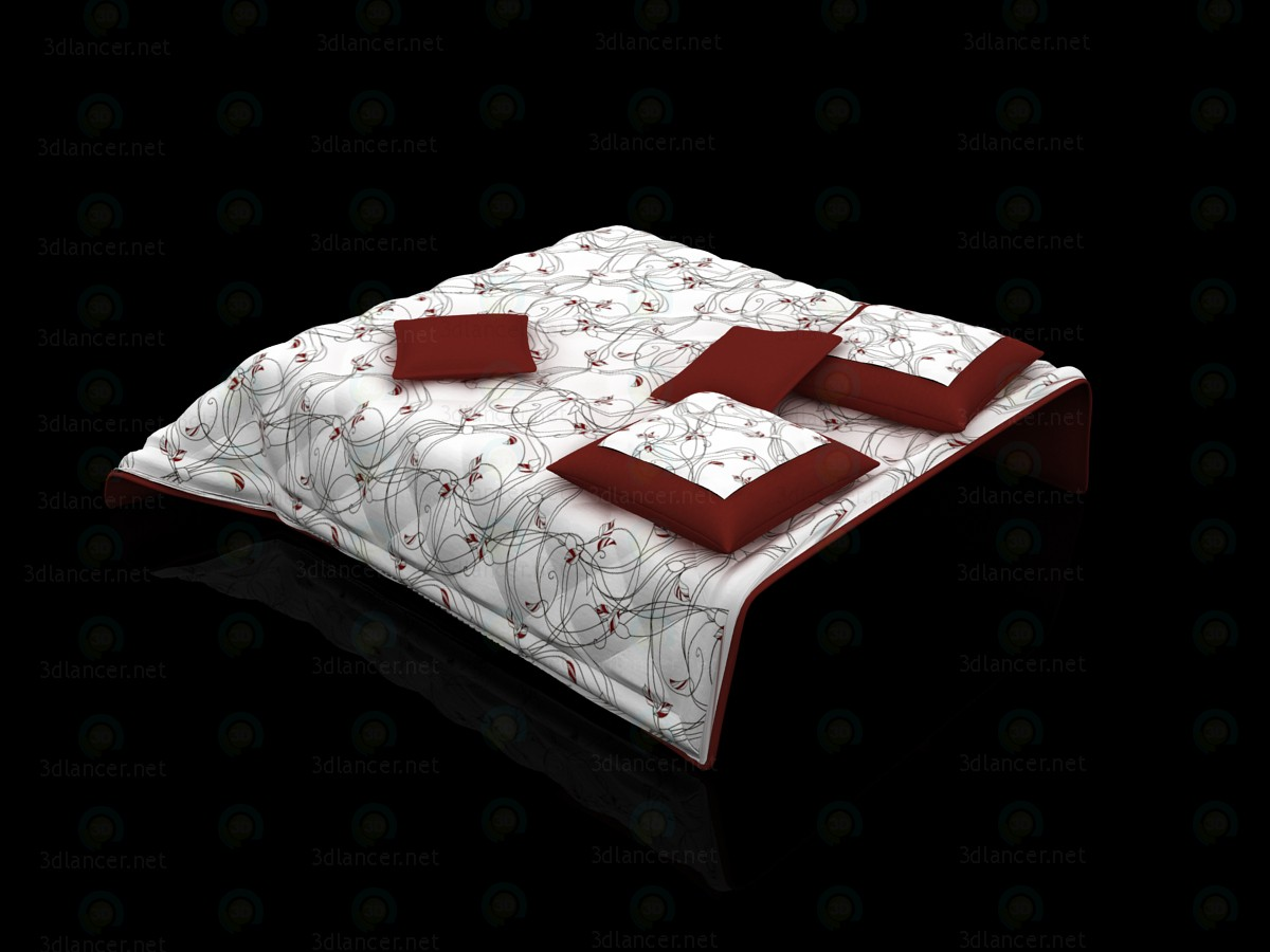 3d Quilted bedcover and pillows on the bed model buy - render