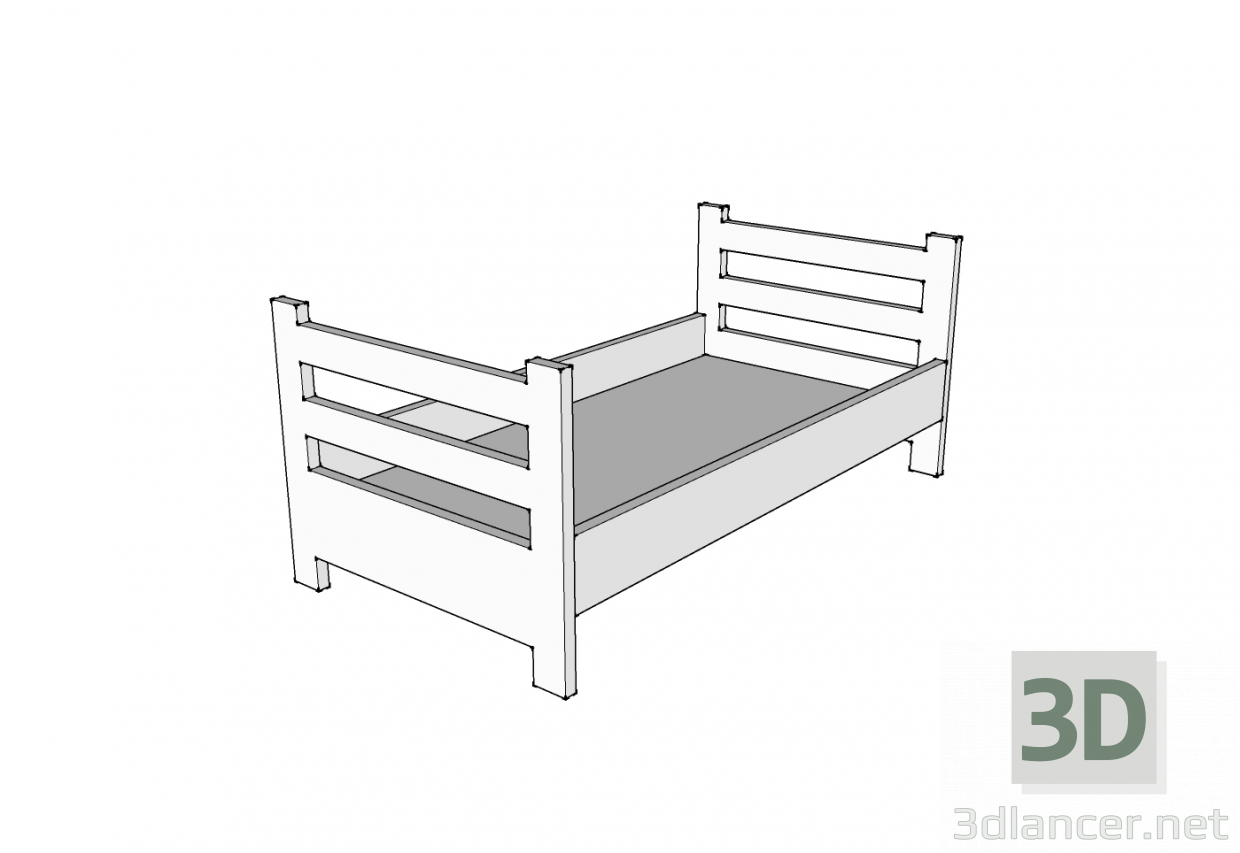 3d model Wooden bed - preview