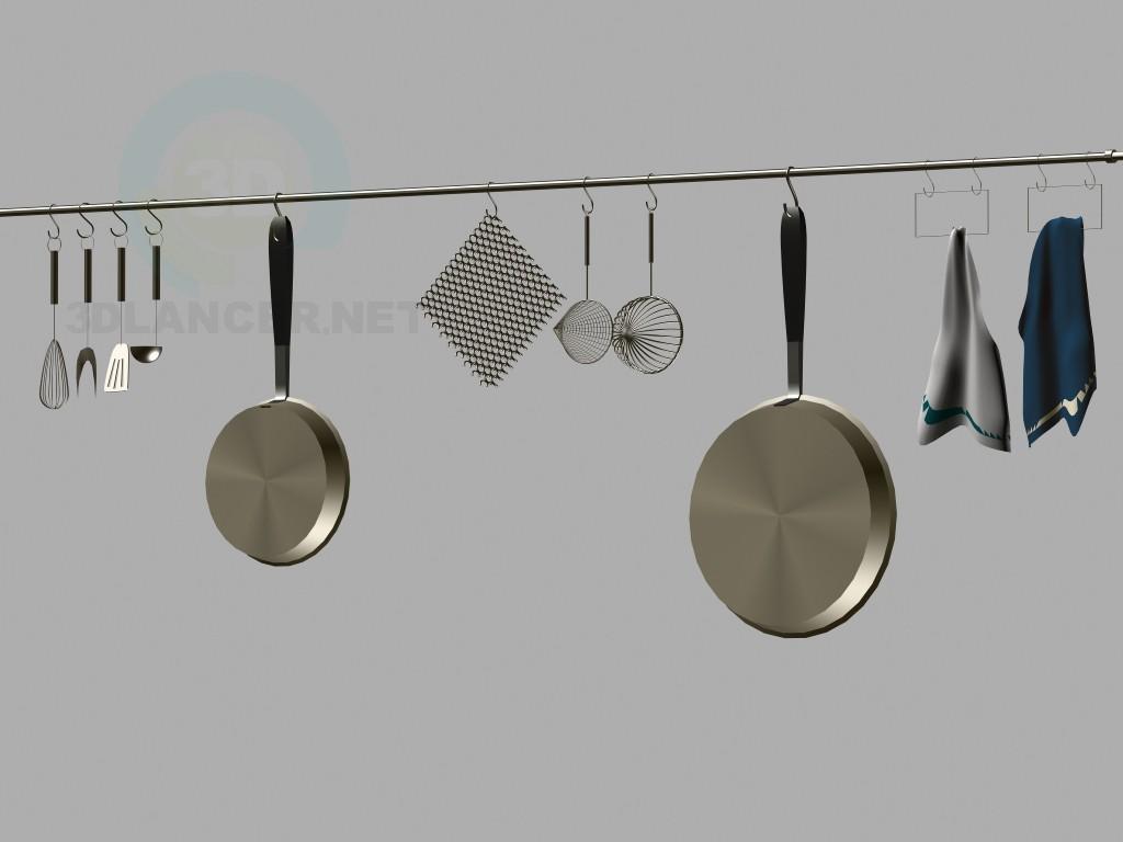 modelo 3D Juego de vajilla de cocina - escuchar