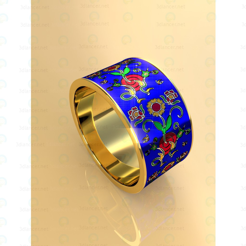 3d modeling Ring with flowers model free download