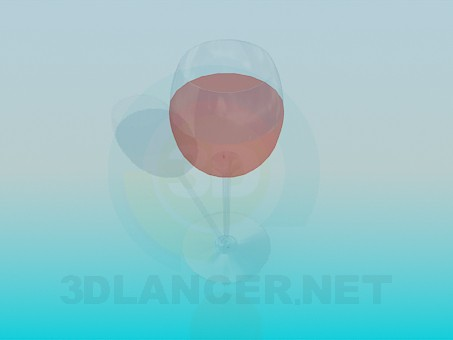 3d model A glass of rose wine - preview